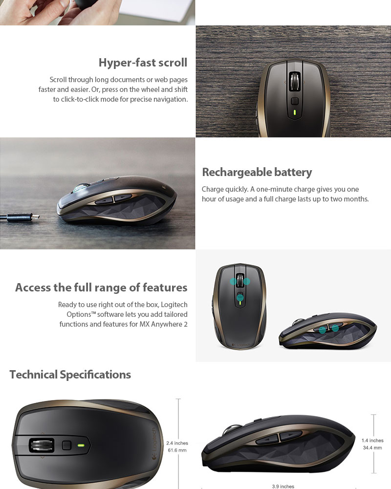 Logitech MX Anywhere 2 Wireless Mobile Mouse Optimized for Windows and Mac | eBay