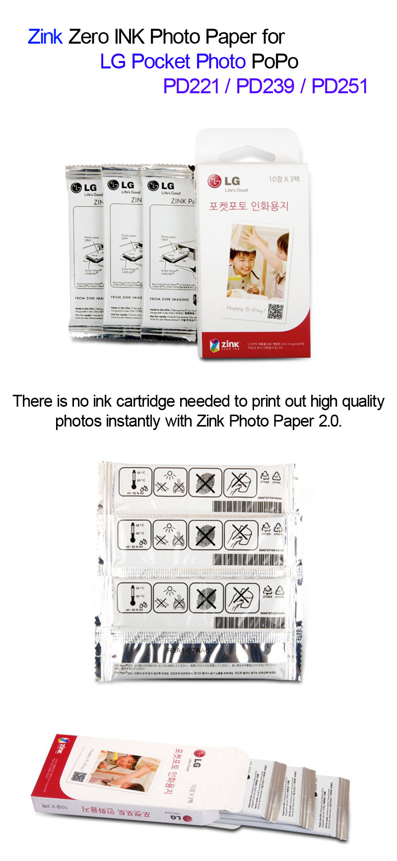 Lg Pocket Photo Popo Zink 30 Sheets Paper For Pd239 Pd221