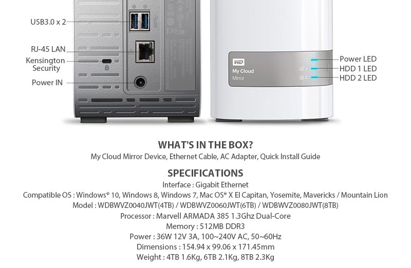 Wd my cloud mirror 4tb gen2 512mb ddr3 wd red hdd 1 3ghz for Miroir 50 x 100