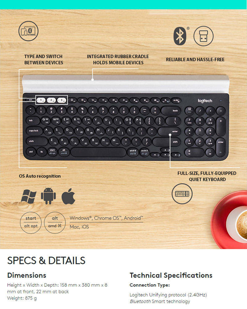 External Bluetooth Keyboard For Android Phone: Logitech K780 Multi-Device Bluetooth Wireless Mini Keyboards