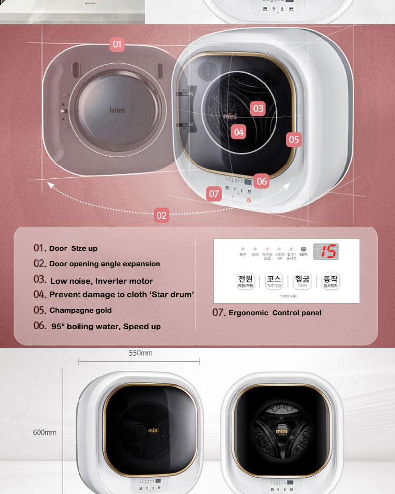 daewoo dwd 03mcwr wall mounted mini drum washing machine 220v only ebay. Black Bedroom Furniture Sets. Home Design Ideas