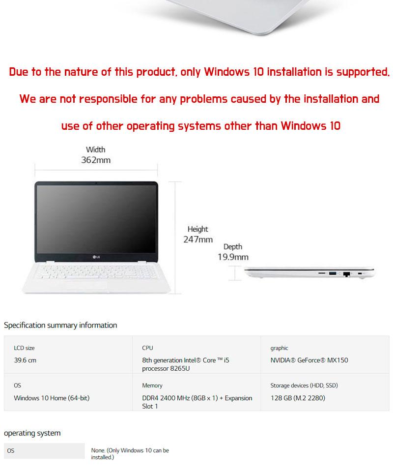 LG 15UD590-KX50K Ultra PC Laptop Notebook / SSD 256GB GeForece MX 150 i5