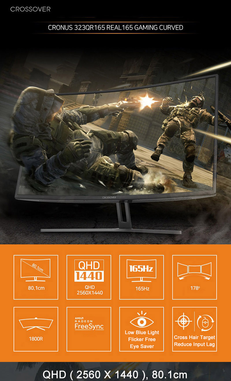 Details about Crossover 323QR 165Hz Curved Gaming Monitor 32
