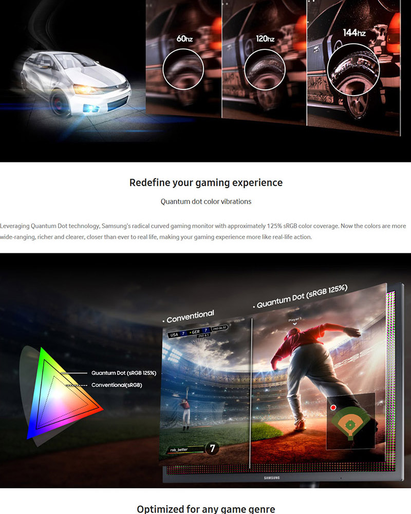 Details about SAMSUNG C24FG73 24 curved gaming monitor 1ms 144hz 3000:1  125% sRGB AMD Freesync